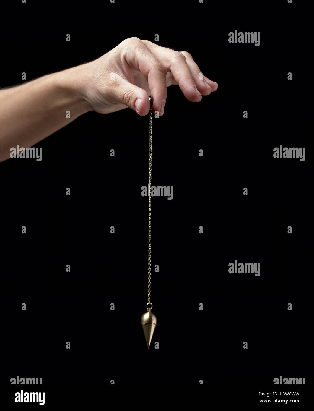 Esotericism, woman, detail, hand, hold, pendulums, spiritualism, occultism, siderisches pendulum, auspendeln, oscillate, - Stock Image