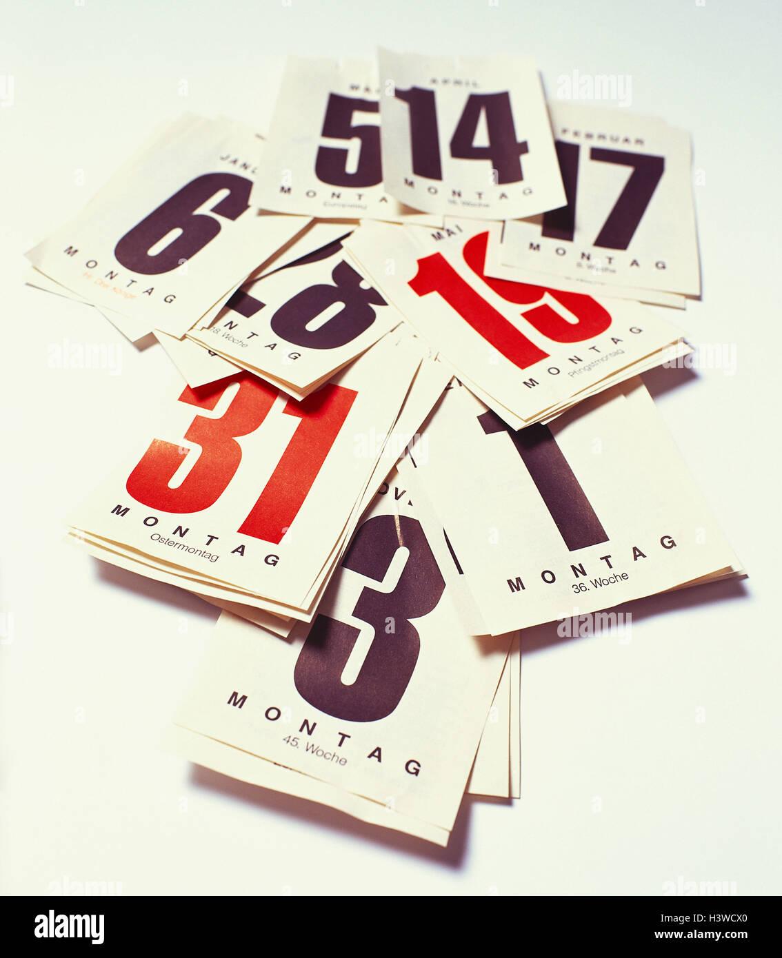 Calendar, detail, calendar leaves, ragged datum, calendar leaves, red, black, Sundays, days, weekdays, batches, - Stock Image