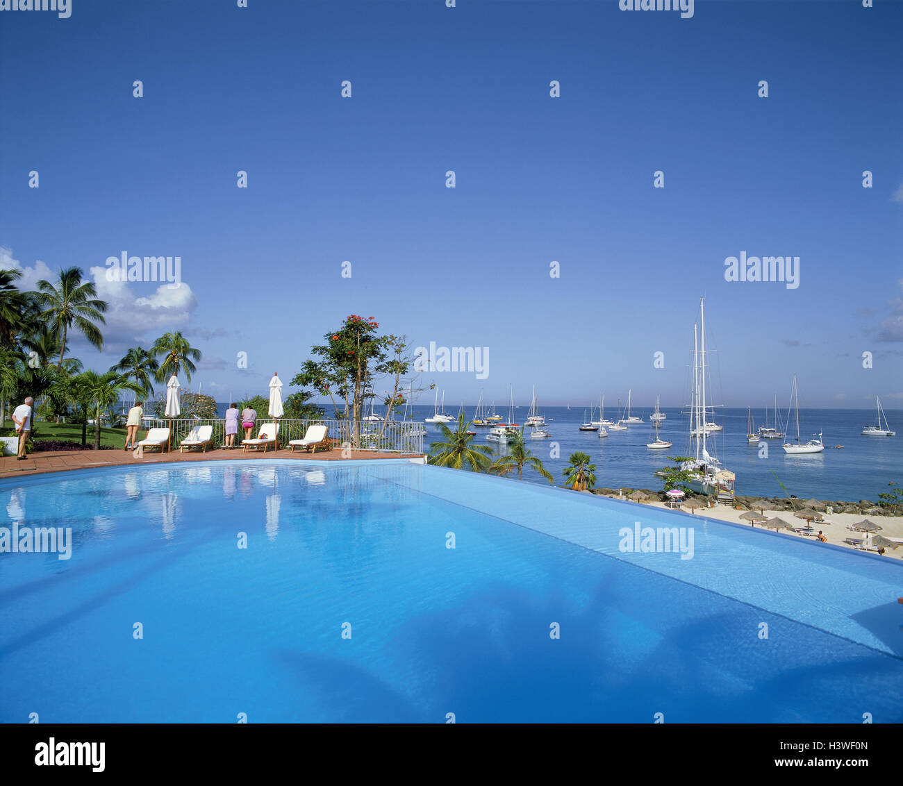 Martinique, port you Bout, swimming pool, tourist, sea, yachts, the French Antilles, the small Antilles, southern - Stock Image
