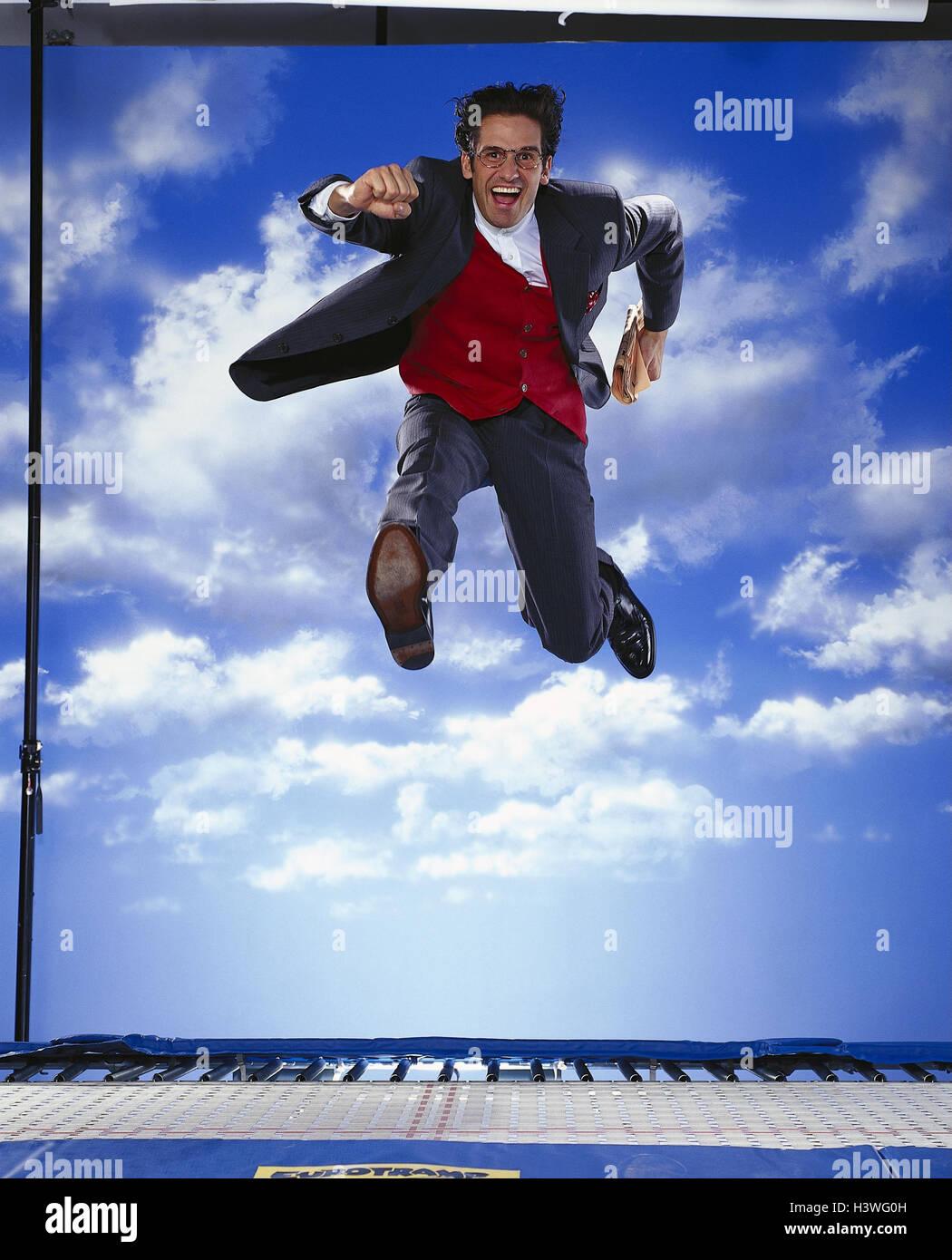Manager, magazine, caper, cloudy sky businessman, man, crack
