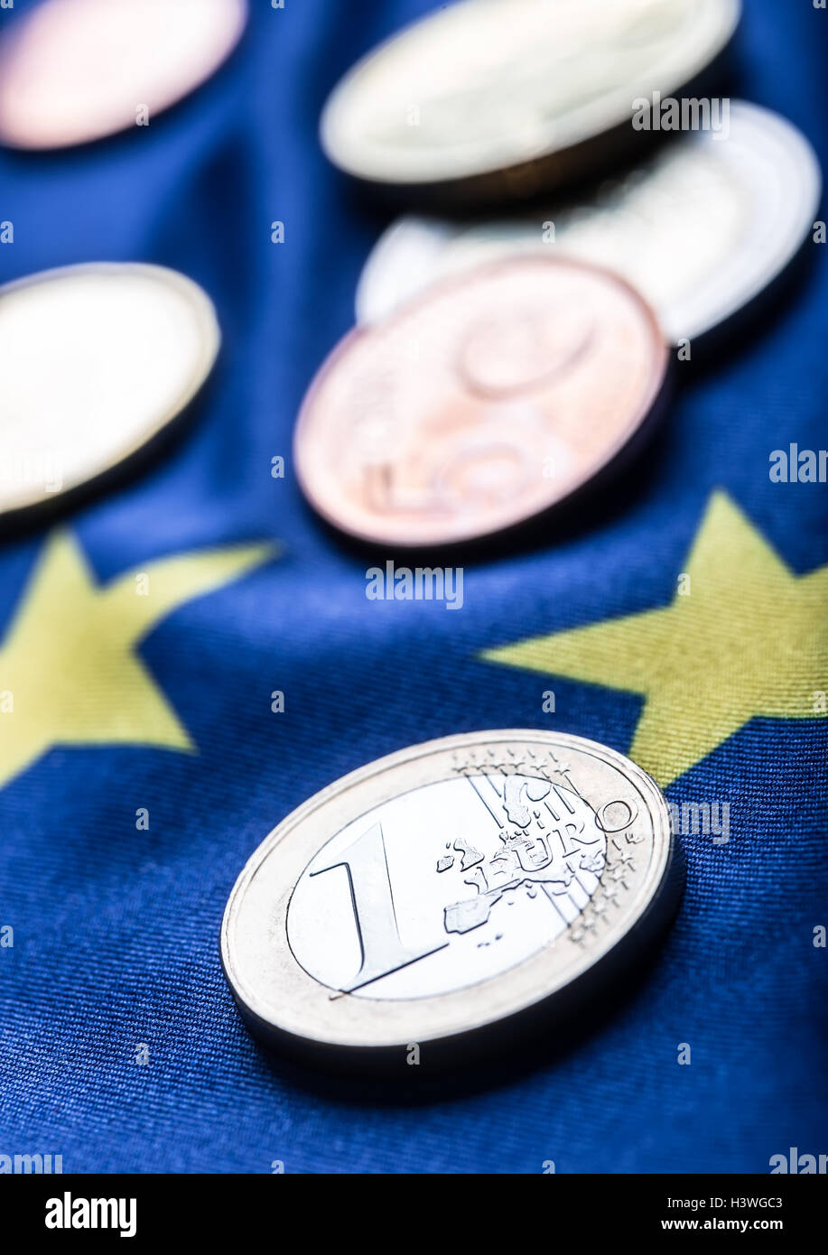 Euro coins. Euro currency. Euro money. European flag and euro money. Coins and banknotes European currency freely - Stock Image