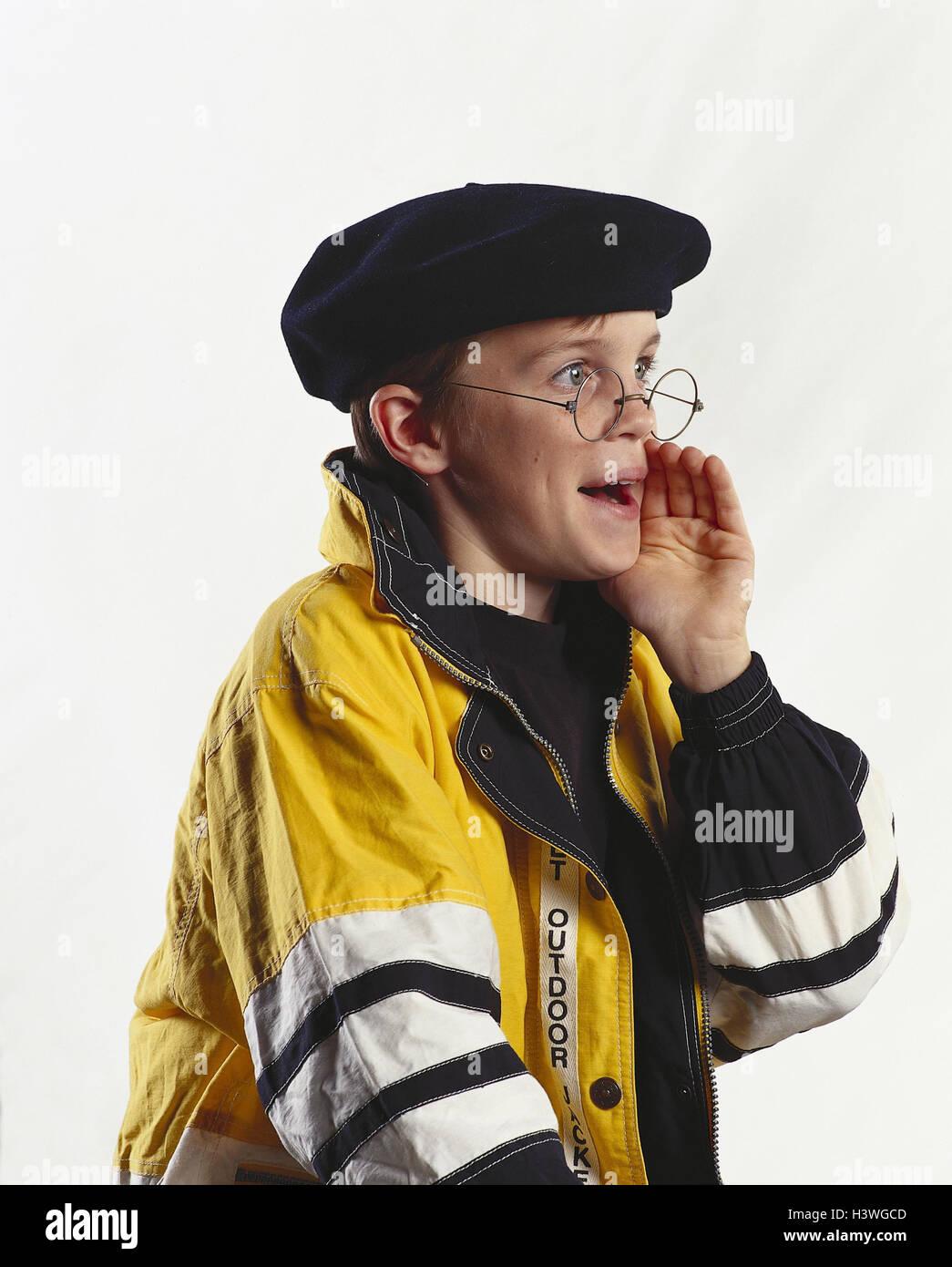 Boy, beret, glasses, gesture, call, portrait, mb 141 A5 - Stock Image
