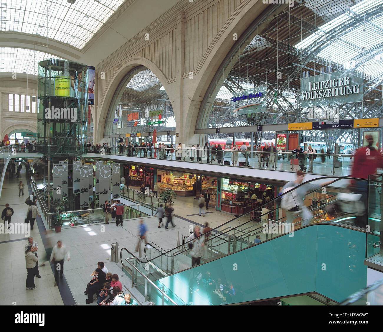 Germany, Saxony, Leipzig, central station, promenades, shopping arcade city centre, centre, space the republic, Stock Photo