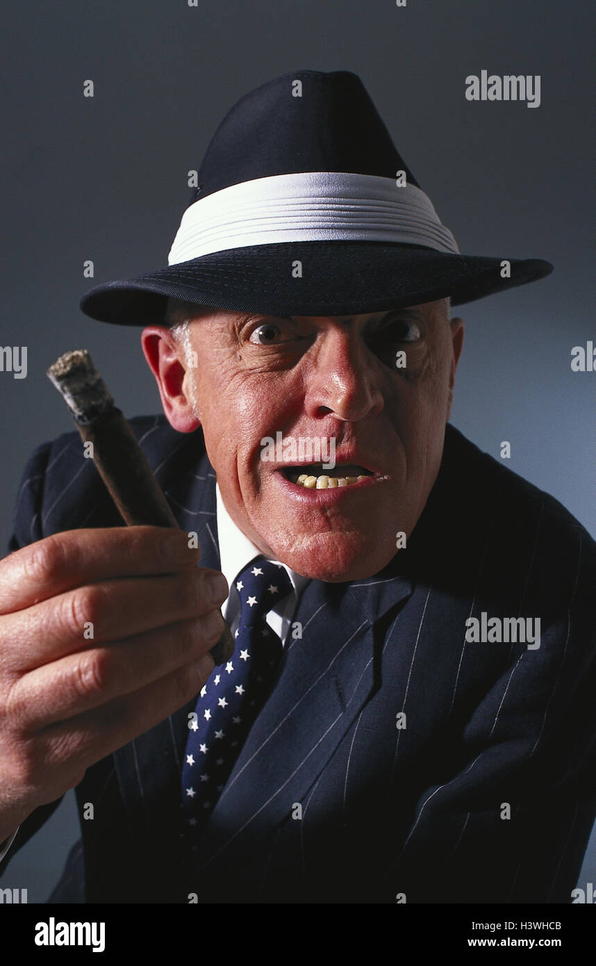 Man, care, cigar, facial play, menacingly, half portrait, boss, mafioso, crook, pinstripe suit, nicotine, aggressively, aggression, threaten, threat, nastily, inside, studio, portrait, Stock Photo