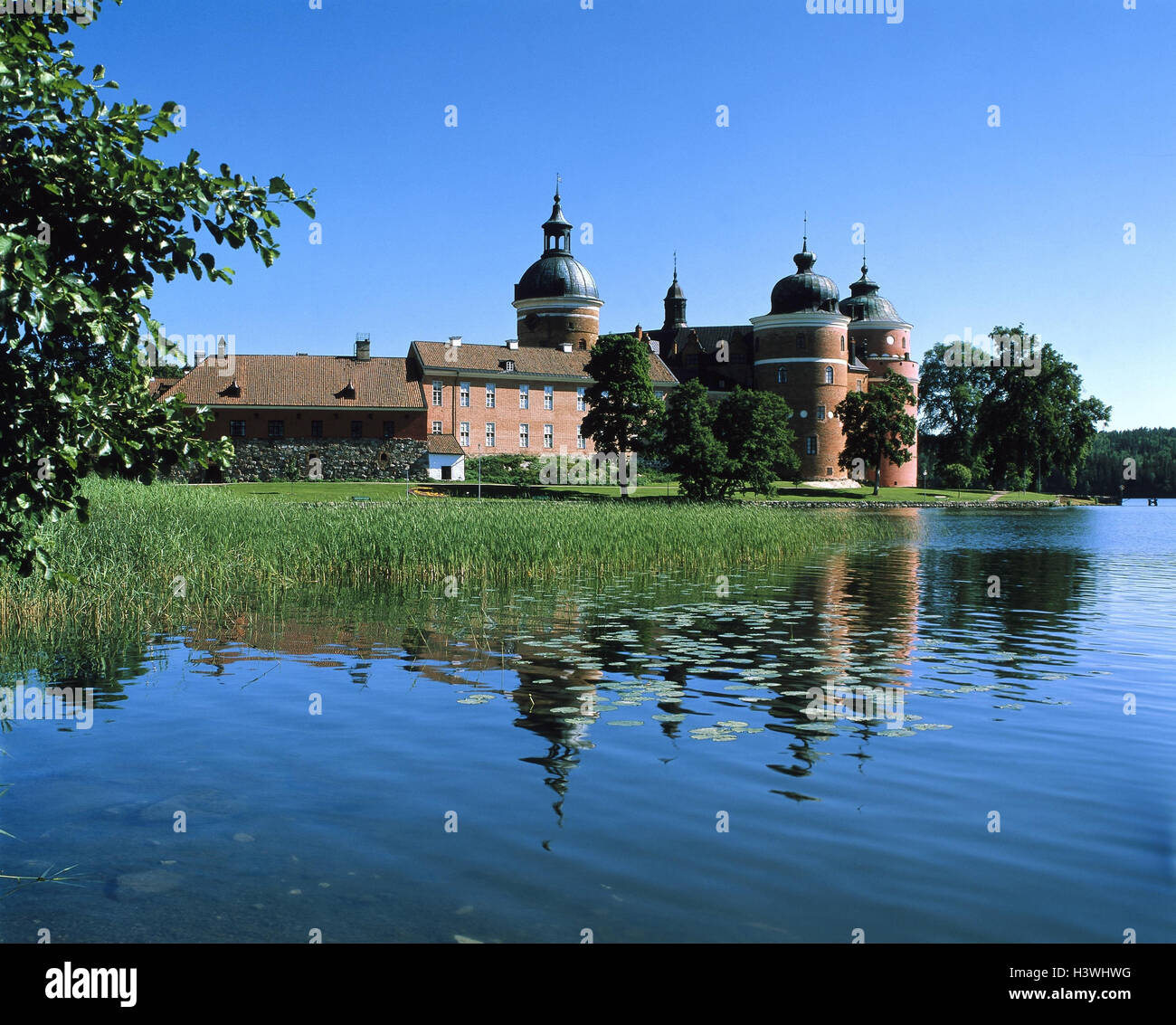 Sweden, Mariefred, castle grip cross-beam, lake, Europe, Scandinavia, Södermanland, Mälarsee, castle, - Stock Image