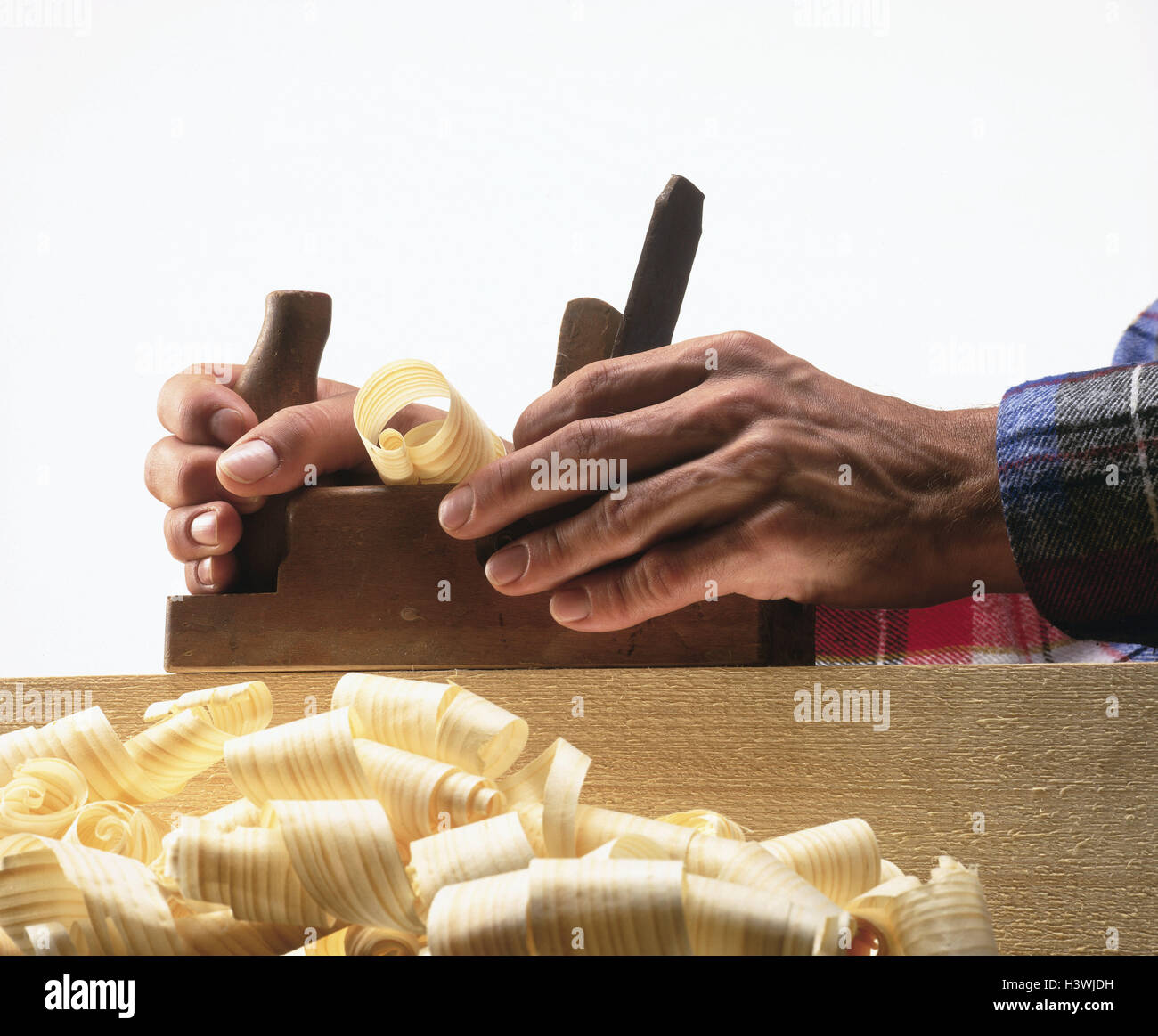 Carpenters, work, chop detail, hands, planes man, wood processing, shavings, wood shavings, occupation, work, work, - Stock Image