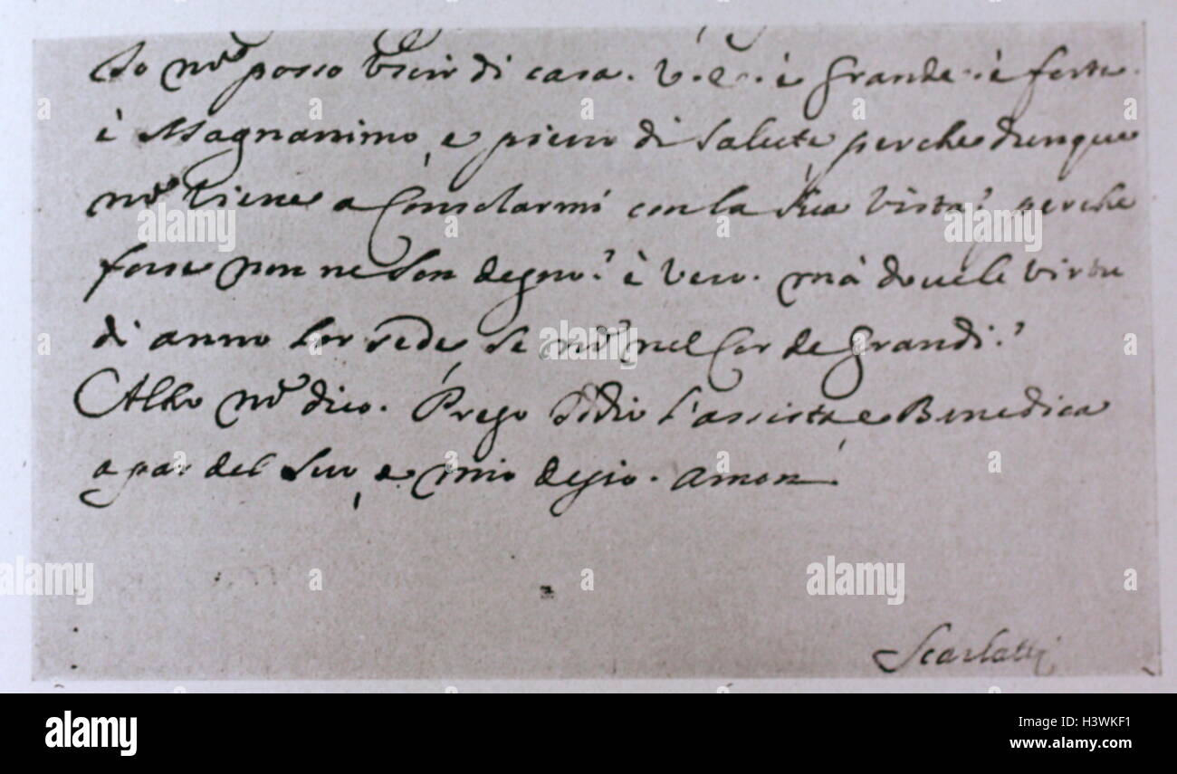 End of an autograph letter addressed to the Duke of Alba XII by Domenico Scarlatti - Stock Image