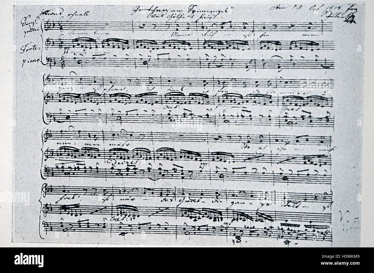 Gretchen am Spinnrade by Franz Schubert (1797-1828) an Austrian composer. Dated 19th Century Stock Photo