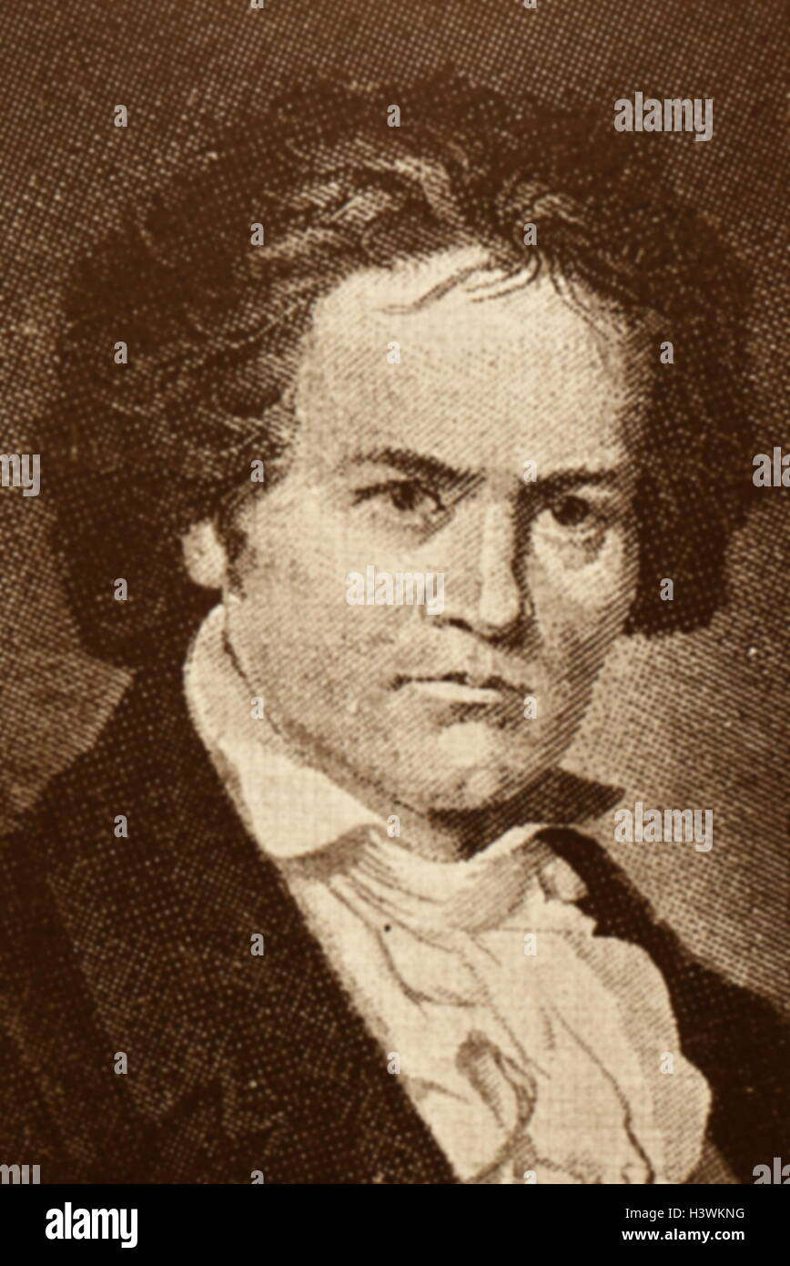 Portrait of Ludwig van Beethoven (1770-1827) a German composer. Dated 19th Century - Stock Image