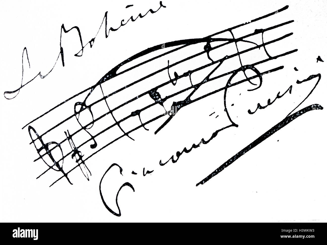 Autograph of Giacomo Puccini (1858-1924) an Italian composer. Dated 19th Century - Stock Image