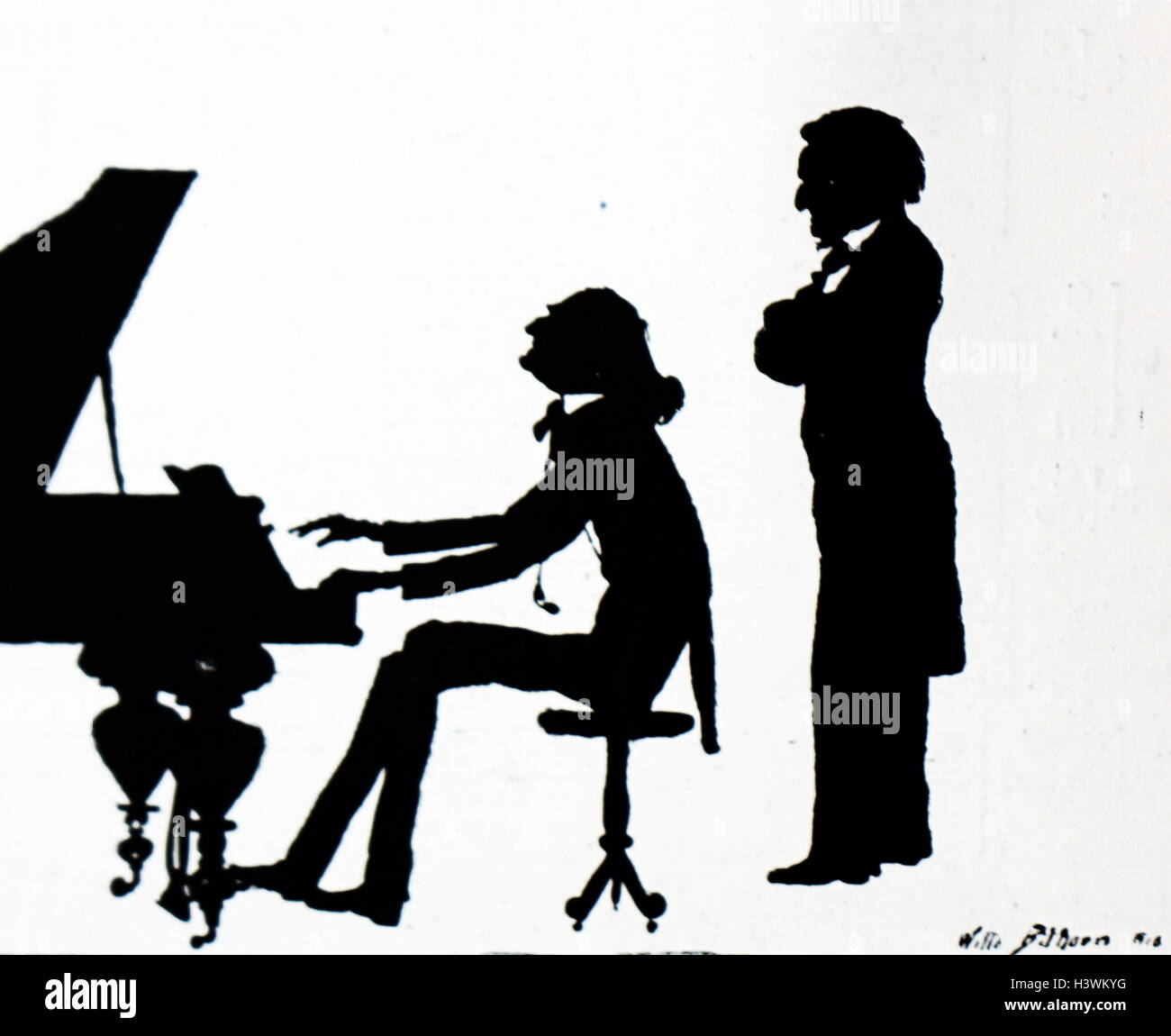 Silhouette of Franz Liszt and Richard Wagner - Stock Image