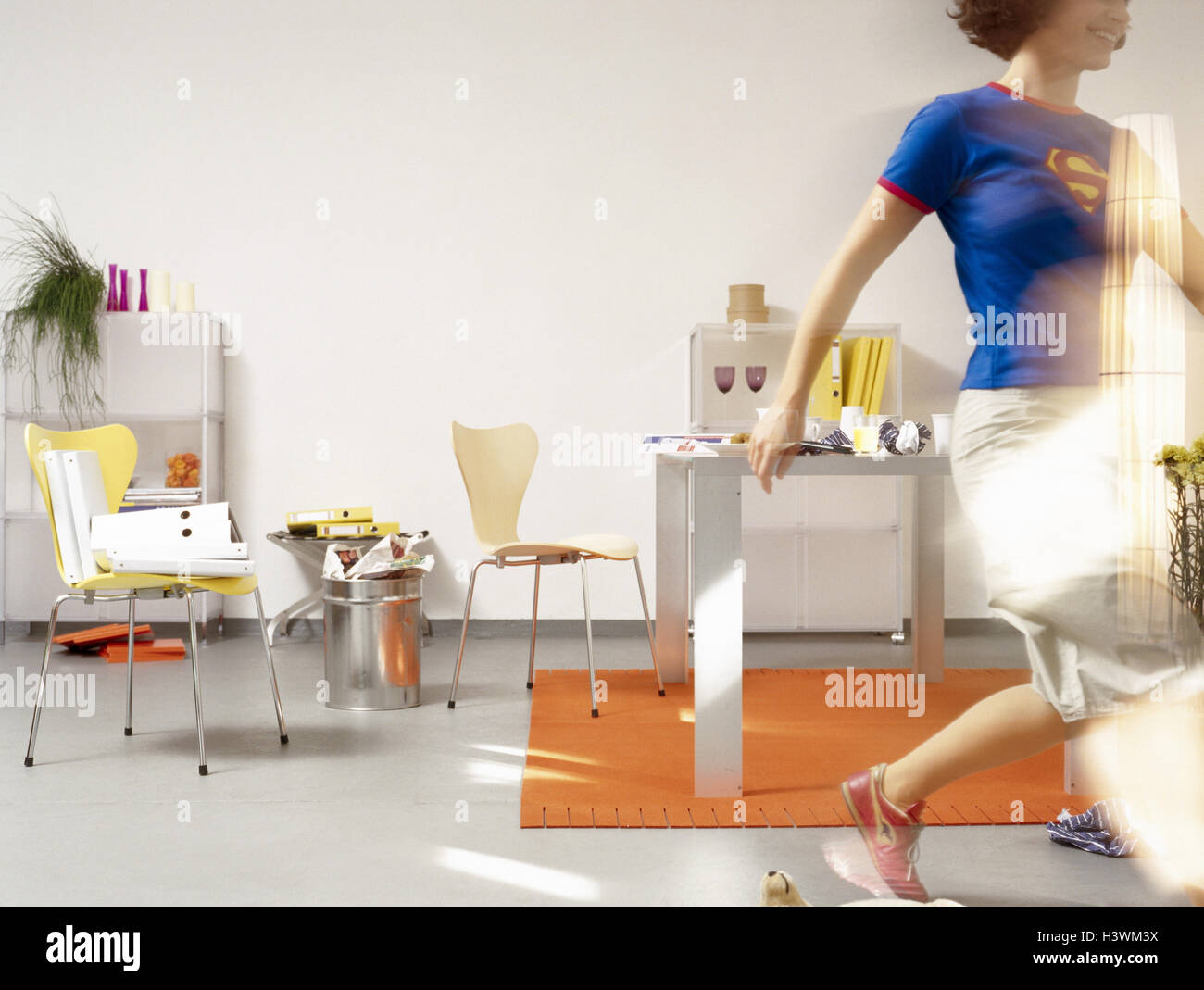 Homeoffice, woman, run, icon, date printing, , at home, flat Stock ...