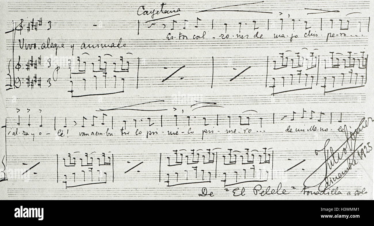 Sheet music by Julio Gómez (1886-1973) a Spanish composer. Dated 20th Century - Stock Image