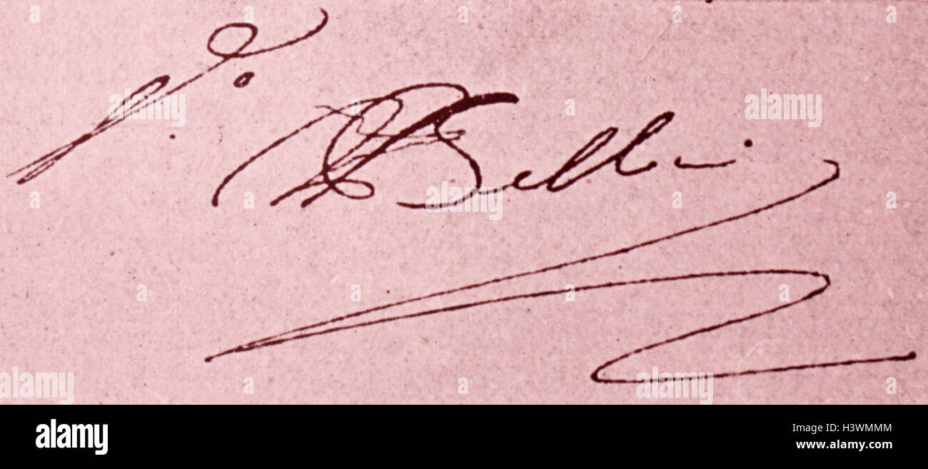 Autograph of Vincenzo Bellini (1801-1835) an Italian opera composer. Dated 19th Century - Stock Image