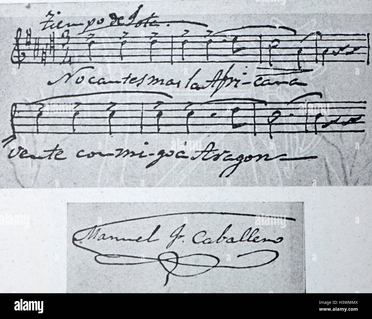 Sheet music and autograph of Manuel Fernández Caballero (1835-1906) a Spanish composer. Dated 19th Century - Stock Image