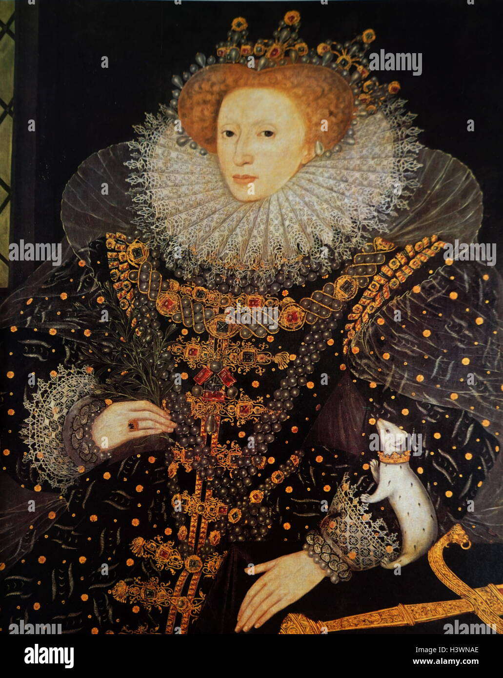 Portrait of Queen Elizabeth I of England (1533-1603) Queen of England.  Dated 16th Century