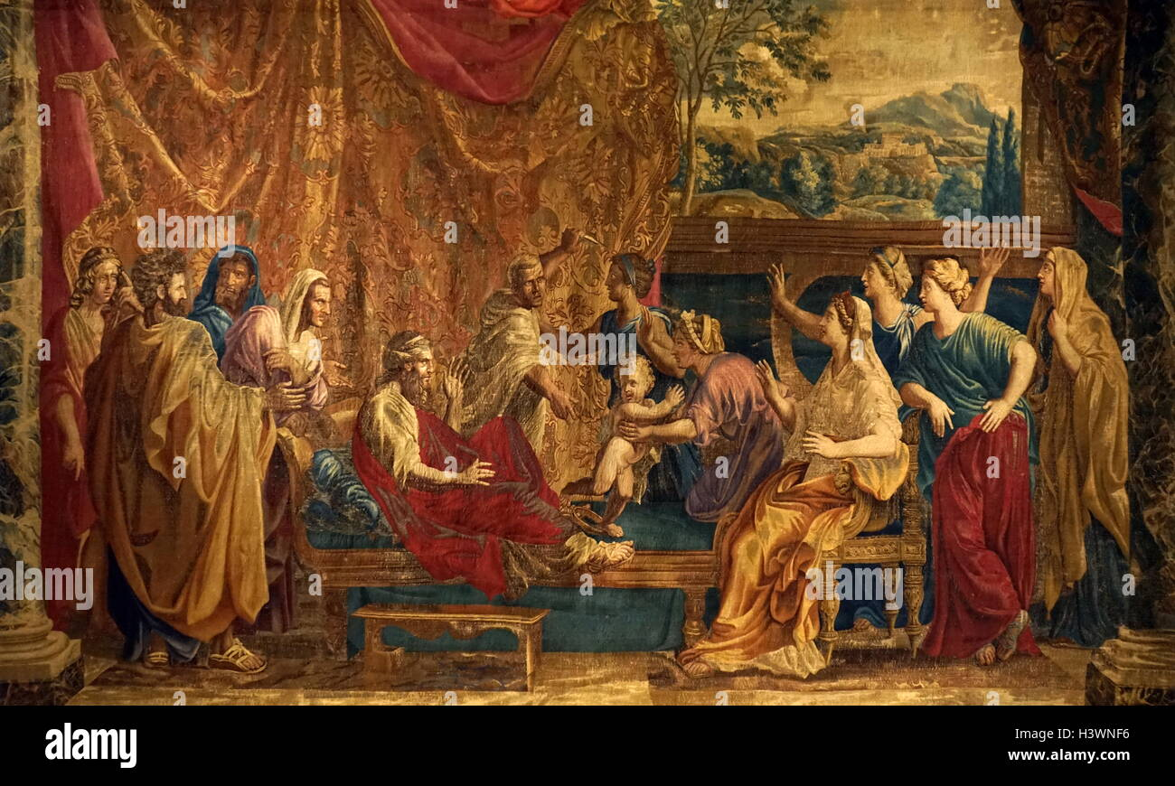 Tapestry with the Infant Moses trampling on Pharaoh's Crown. Dated 17th Century - Stock Image
