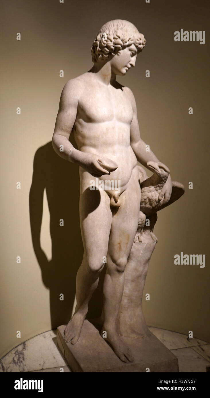 Marble statue of the shepherd Ganymede by Guillaume Coustou the Younger (1716-1777) a French sculptor. Dated 18th - Stock Image