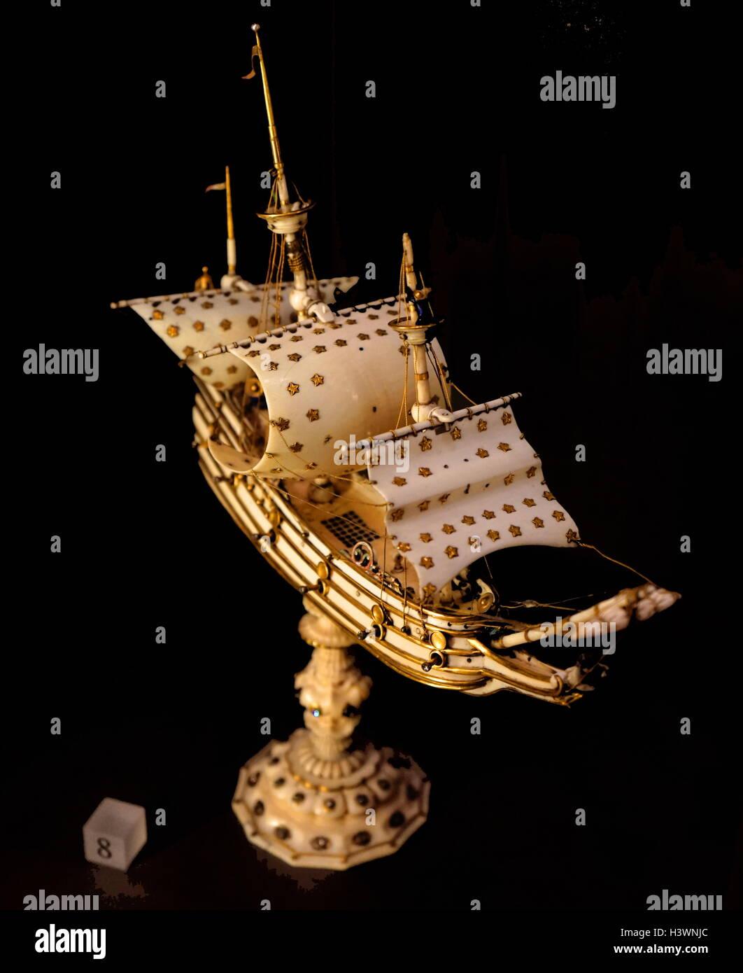 17th Century Model Ship. Dated 17th Century - Stock Image