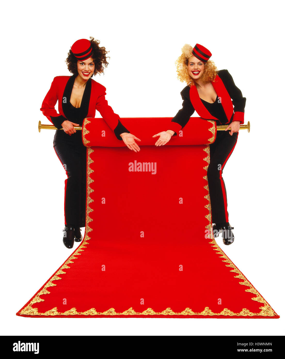 Women, page's livery, carpet, red, roll out, gesture, received, present concepts, pages, page, female, two, - Stock Image