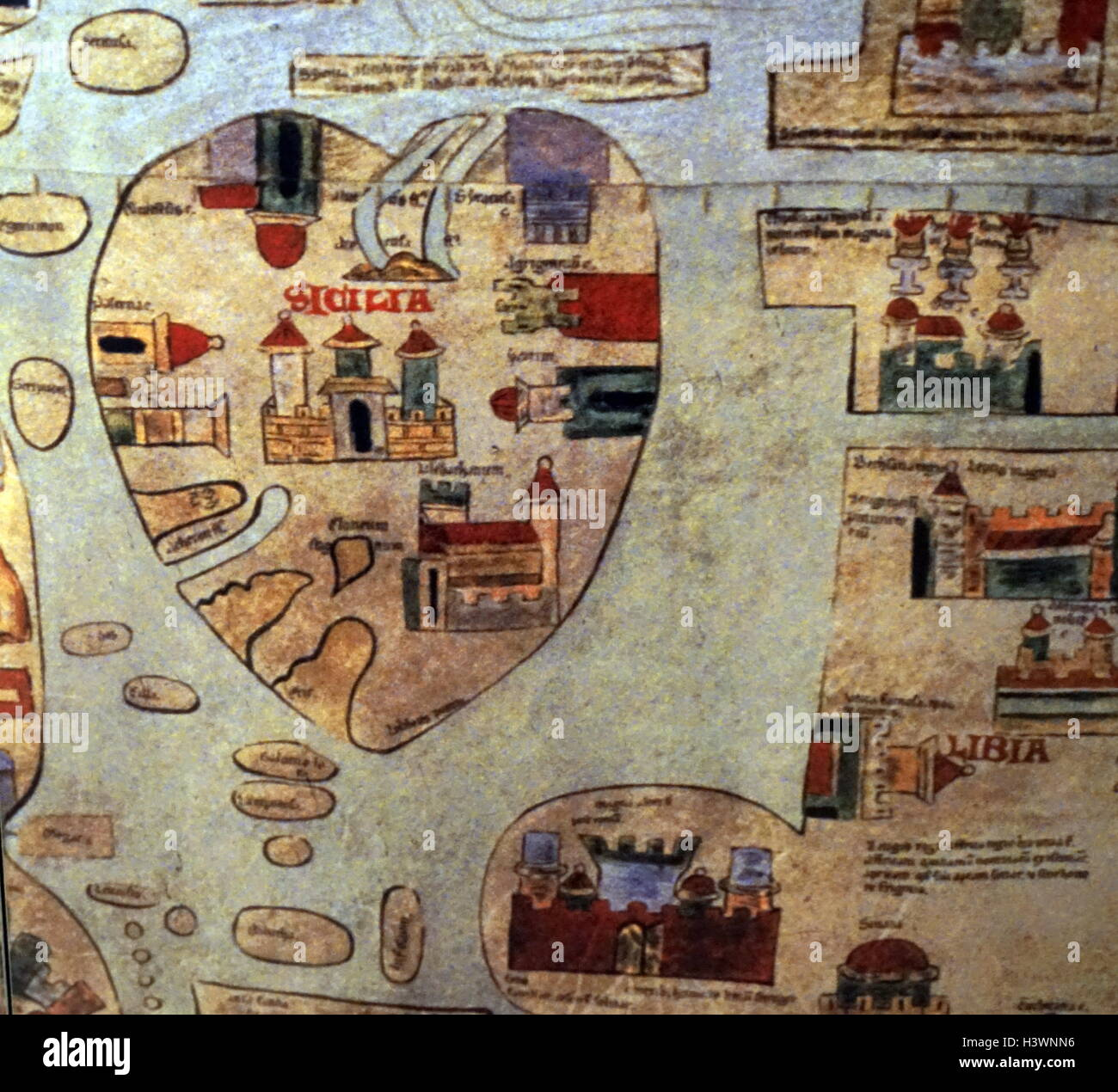 A Detailed Medieval Map Of The World As It Was Known Dated 14th