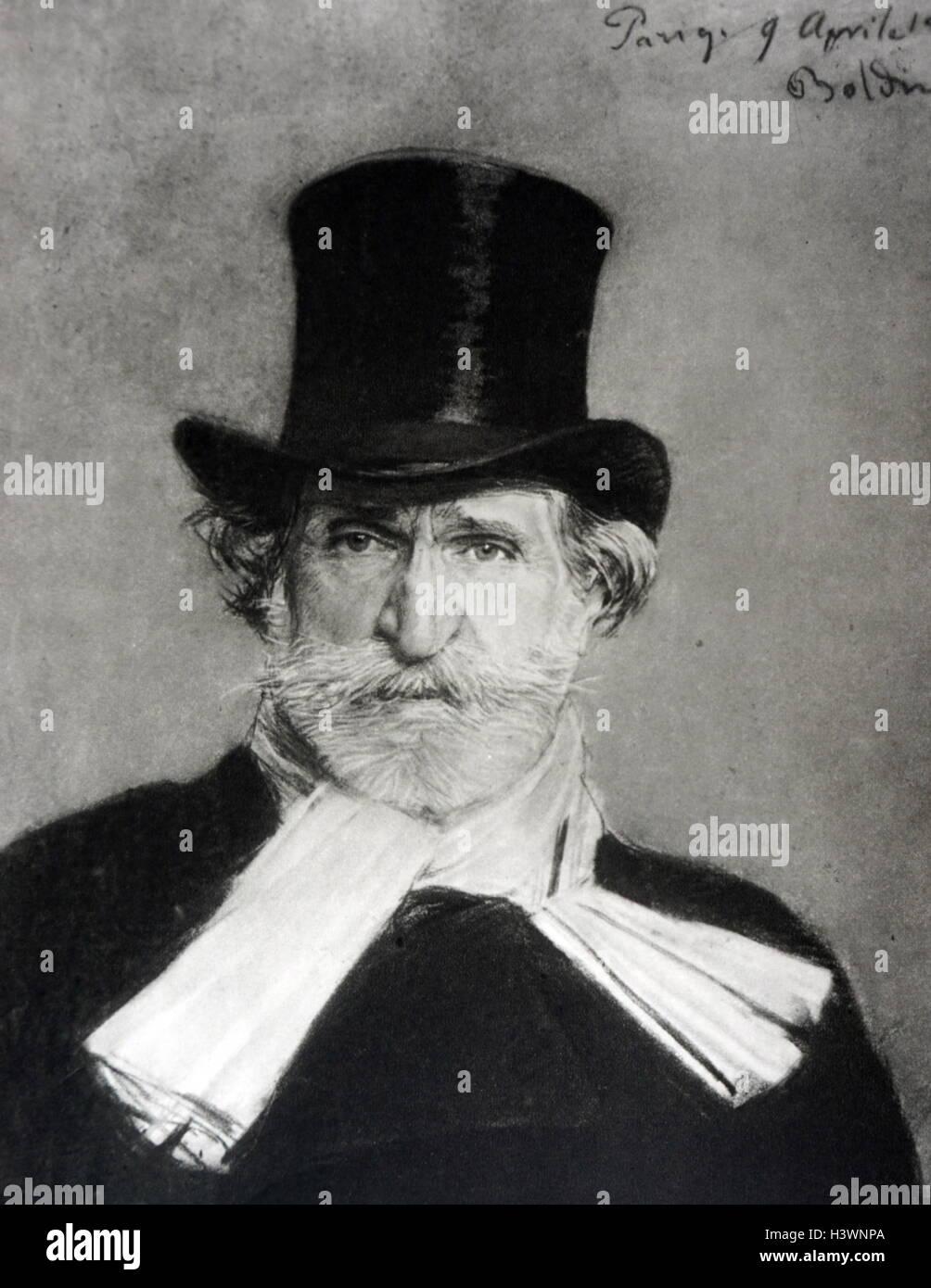 Portrait of Ritratto di Giuseppe Verdi by Giovanni Boldini - Stock Image