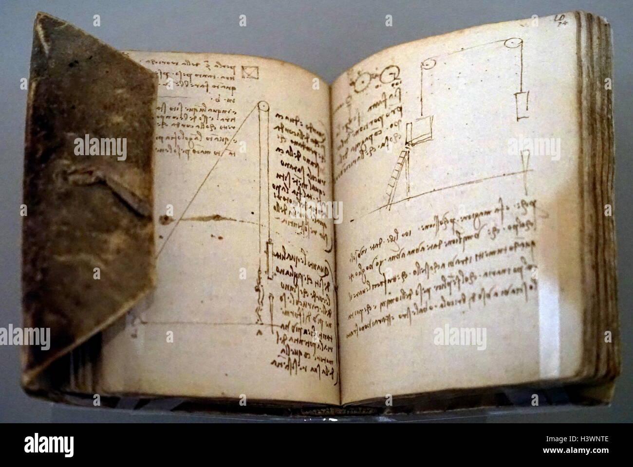 Part of The Codex Forster II by Leonardo da Vinci - Stock Image