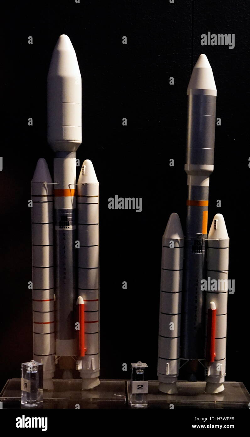Space rocket launchers developed since the 1950s. Dated 20th Century Stock Photo