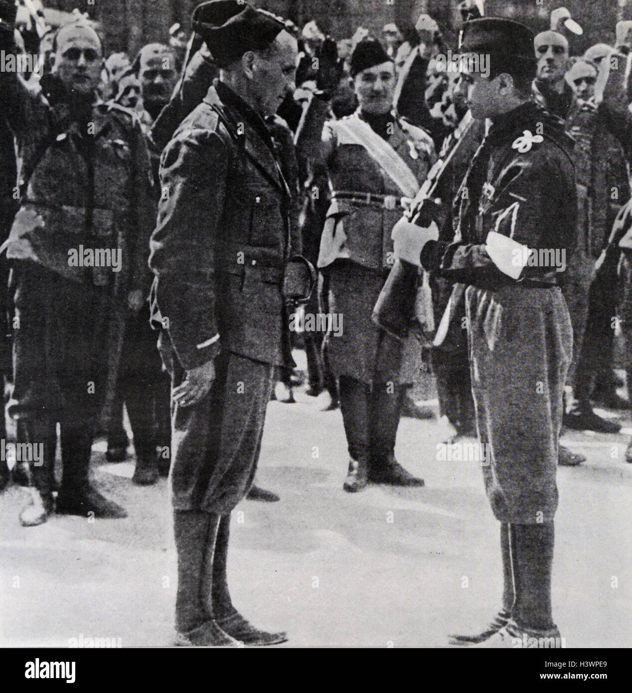 Graduation ceremony for an Italian Fascist militia soldier 1938 - Stock Image