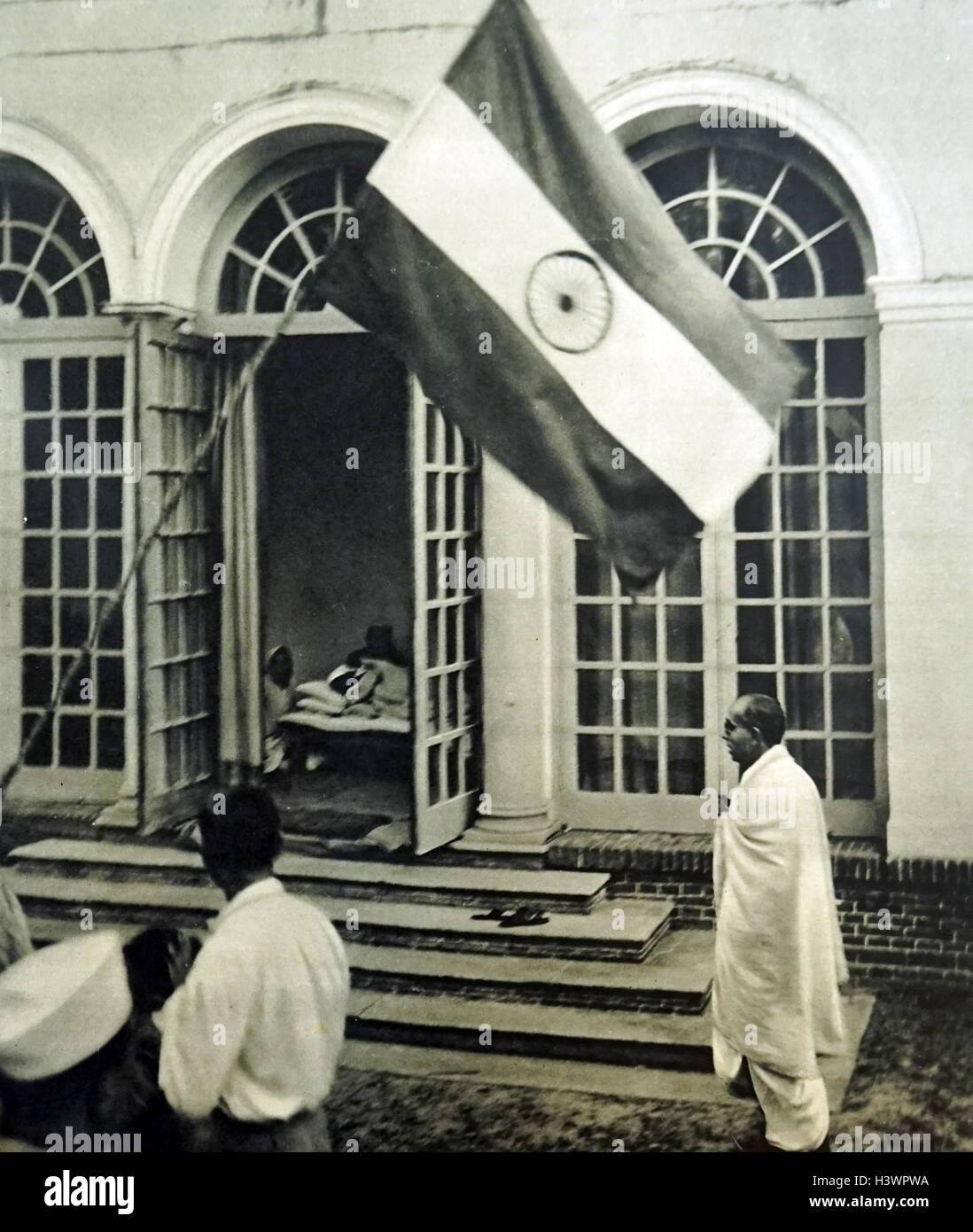 Photograph of an emaciated Mahatma Gandhi - Stock Image