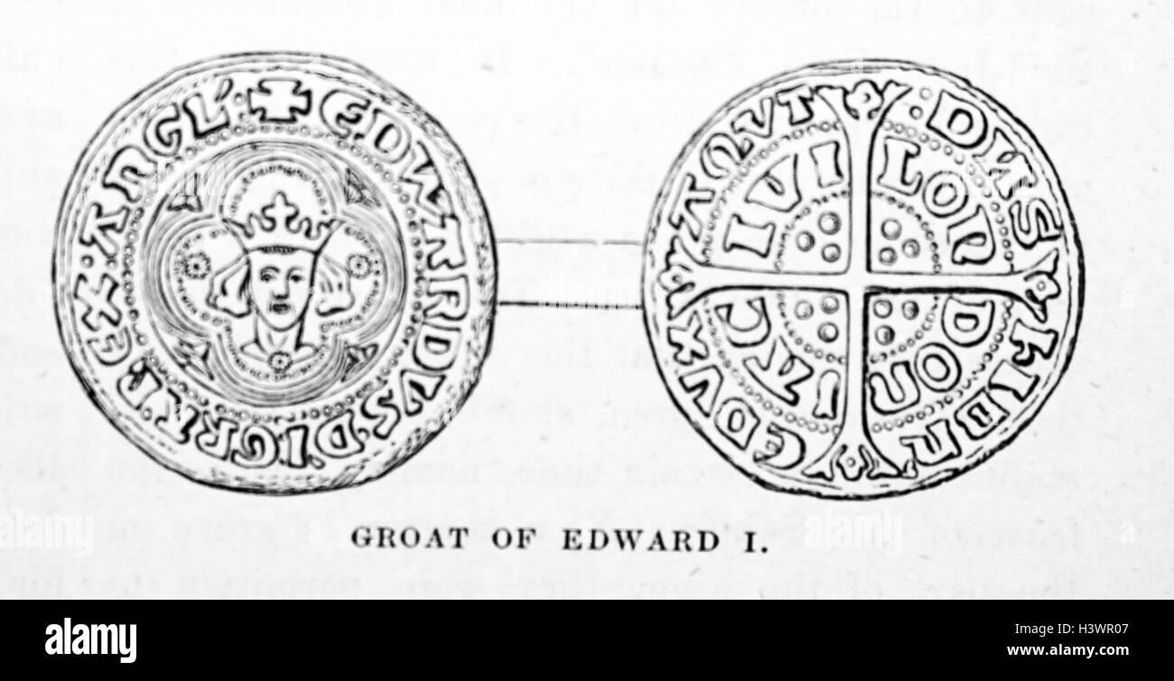 Groat of Edward I of England (1239-1307) King of England. Dated 14th Century - Stock Image