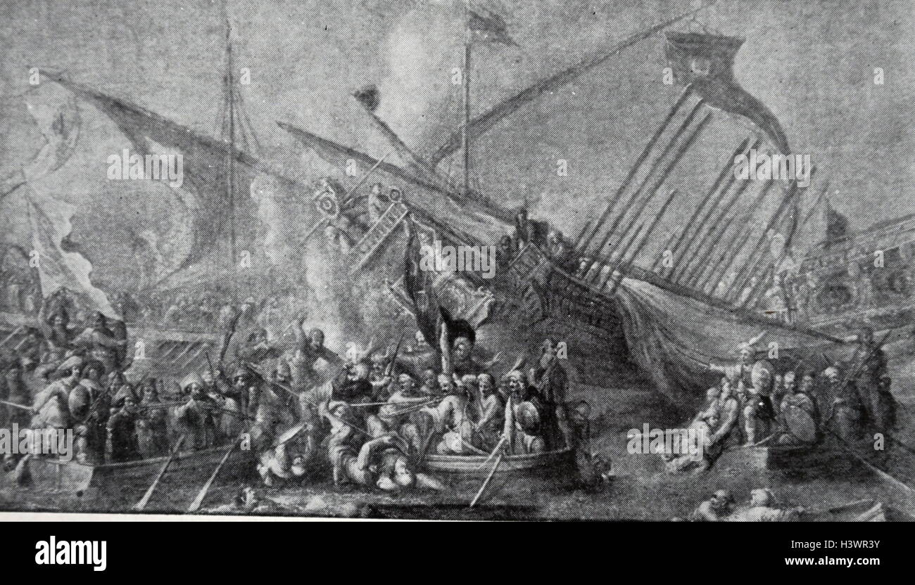 Scene depicting the collapse of the Spanish naval forces. Dated 17th Century - Stock Image