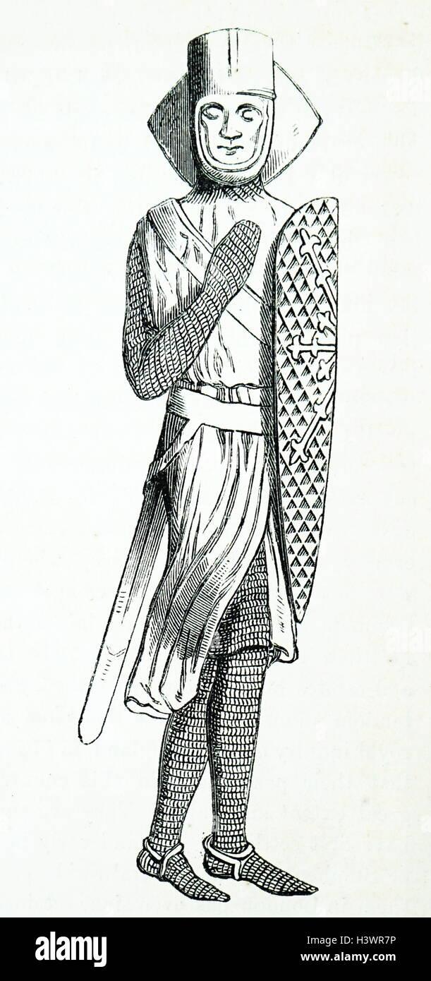Effigy of Geoffrey de Mandeville, 1st Earl of Essex - Stock Image