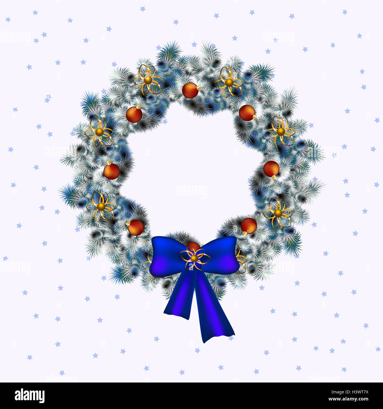 Christmas blue and white wreath, christmas deko in blue accents ,white background, vector - Stock Image