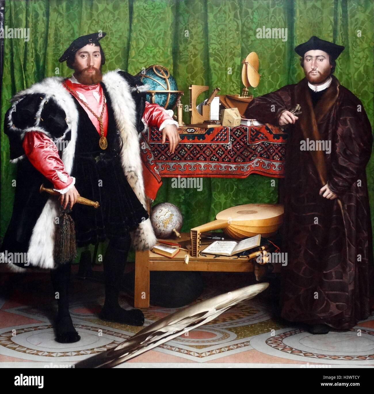 The Ambassadors (1533) painting, by Hans Holbein the Younger. Stock Photo