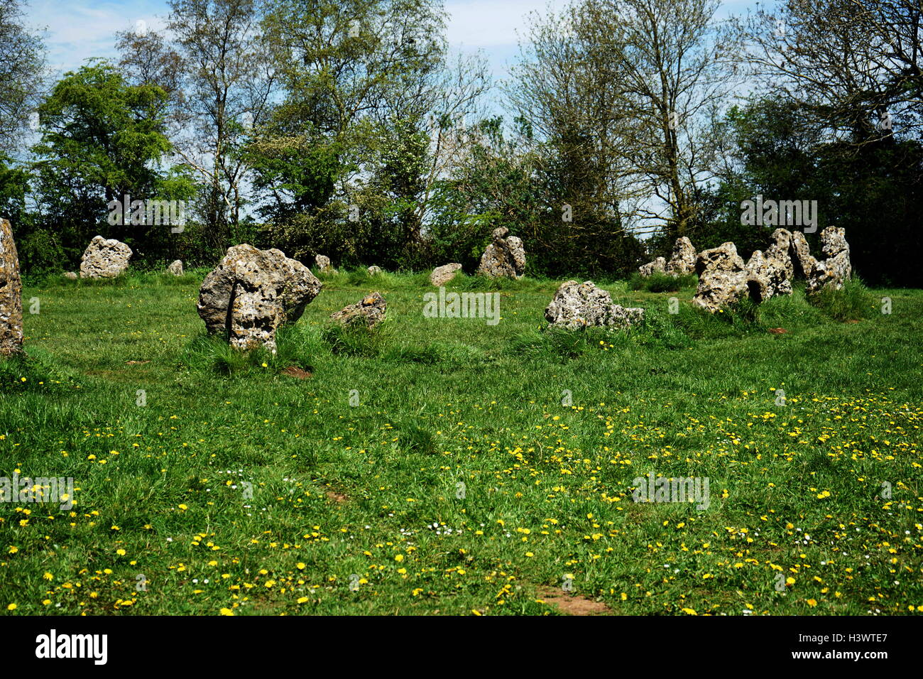 The King's Men Stone Circle which is part of the Rollright Stones, Long Compton, Oxfordshire - Stock Image