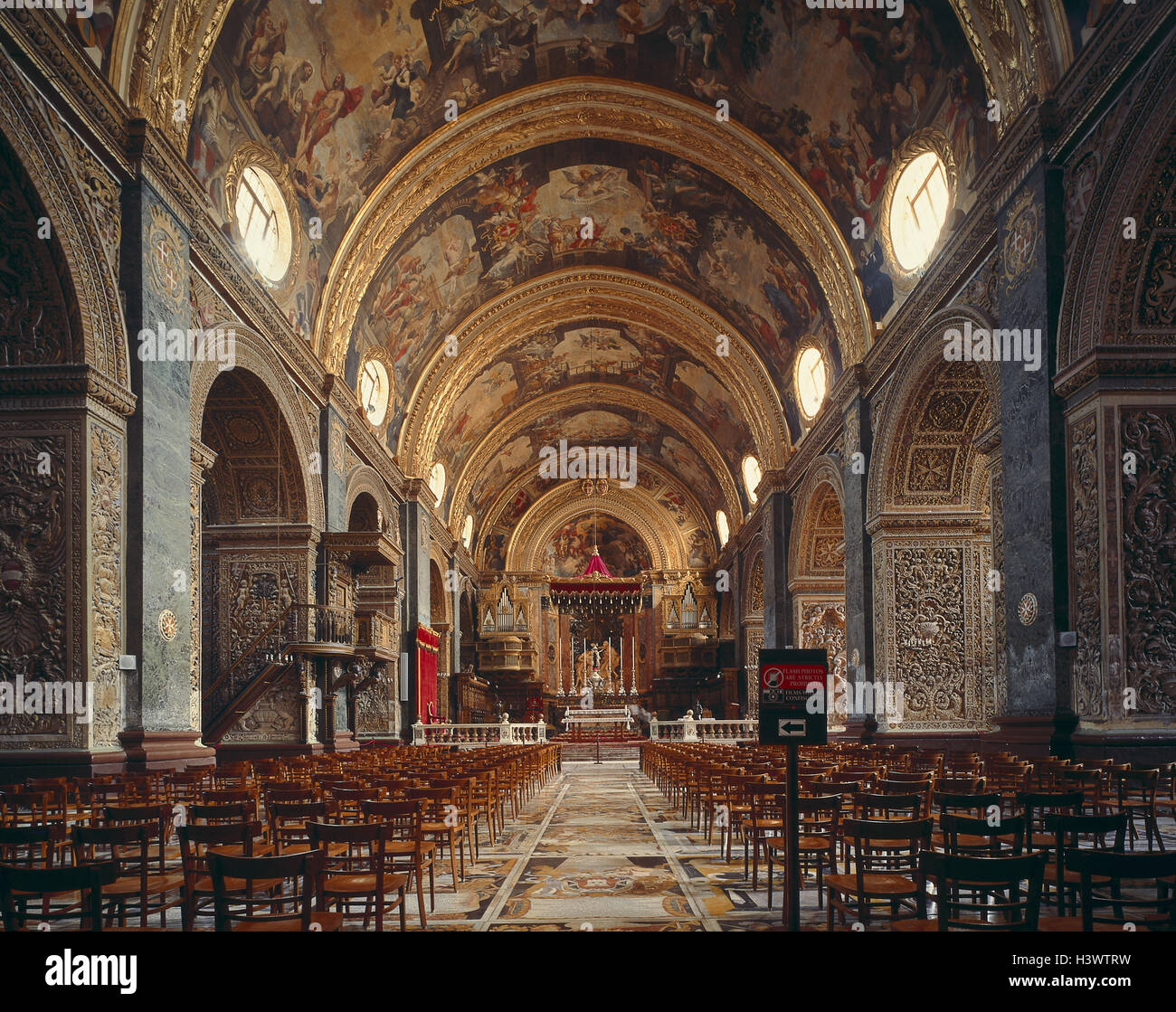 Malta, Valletta, St. John's Co-Cathedral, central nave, island state, island, capital, church, cathedral, inside, Stock Photo