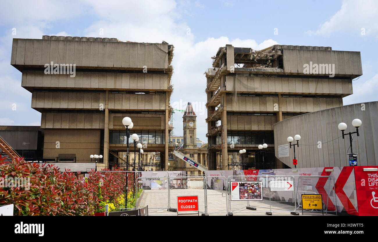 Example of Brutalist architecture being demolished. Dated 21st Century - Stock Image