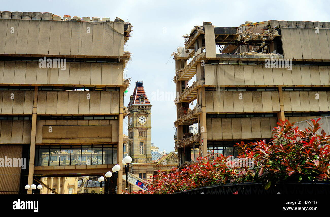 Example of Brutalist architecture being demolished. Dated 21st Century Stock Photo