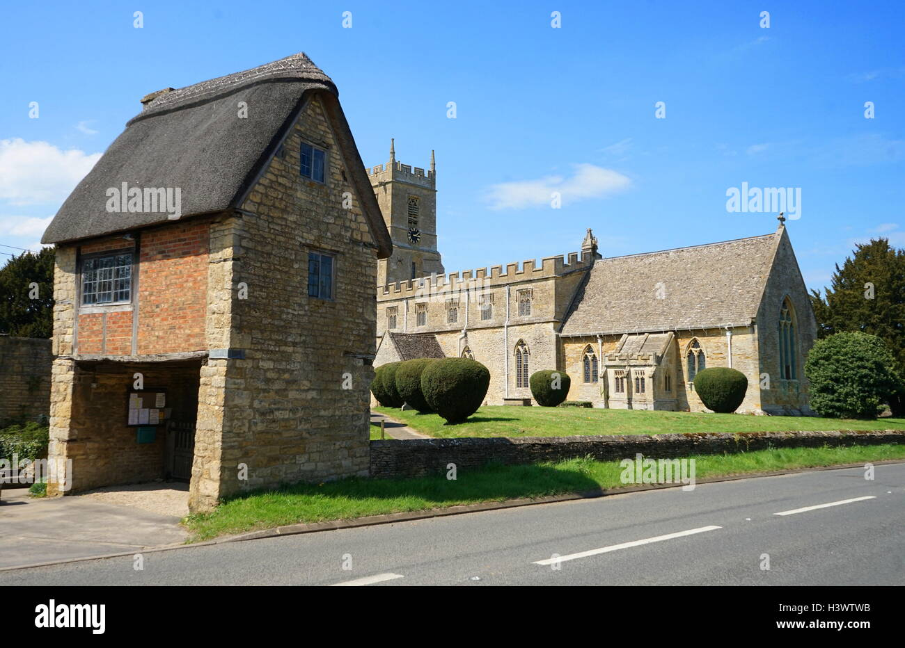 The Lych Gate at St Peter & St Paul C Of E Church, Long Compton - Stock Image