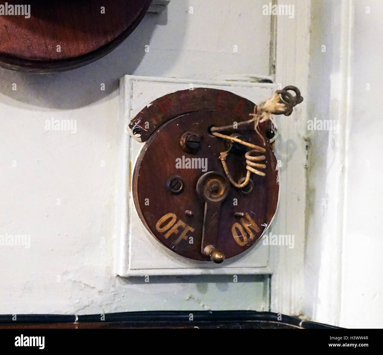 19th Century light switch. Dated 21st Century - Stock Image