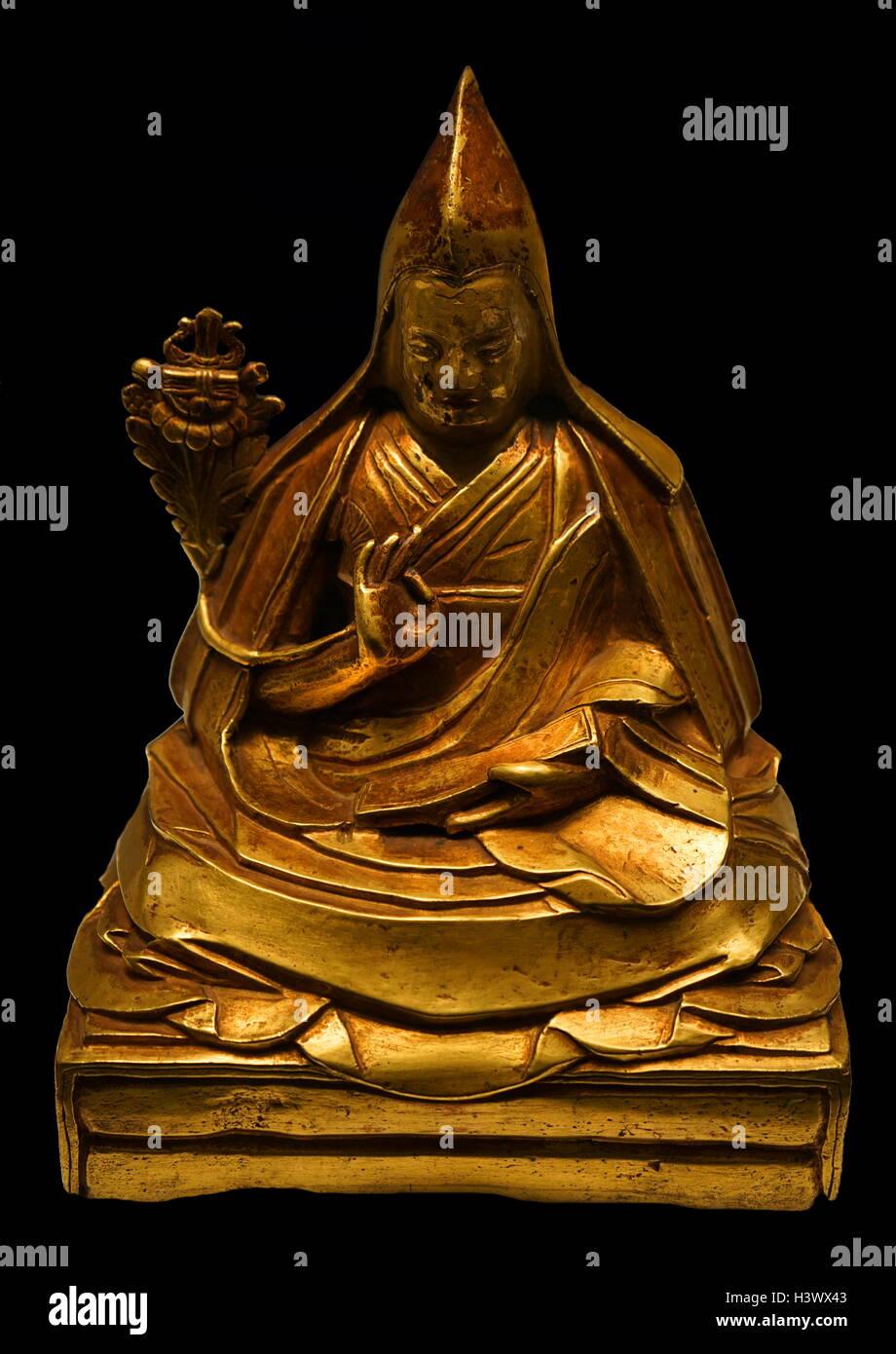 Kelzany Gyasto (1708-1757), 7th Dalai Lama from Tibet. Dated 19th Century - Stock Image