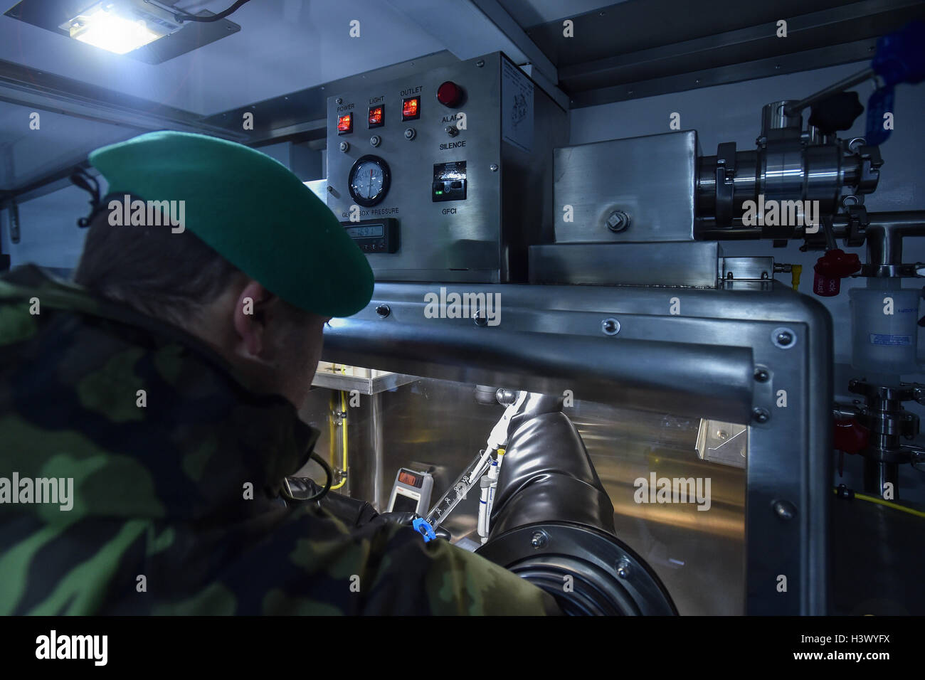 Liberec, Czech Republic. 12th Oct, 2016. U.S. representatives hand new mobile lab to Czech army's chemical unit, - Stock Image