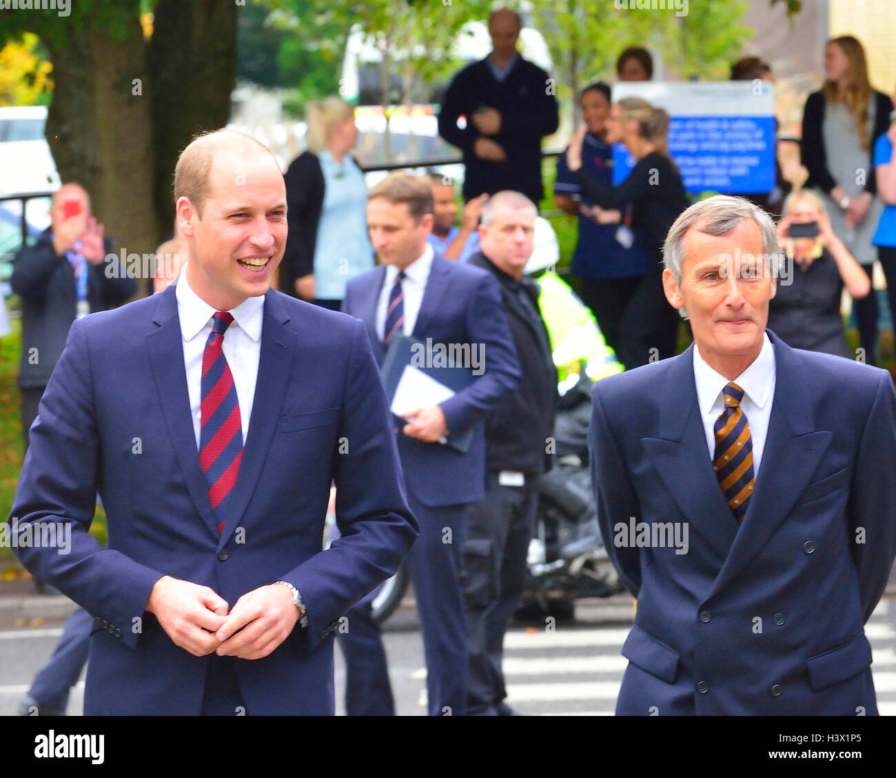 The Duke of Cambridge met by Lord Lieutenant of Hampshire on an official visit to a Step into Health programme at - Stock Image