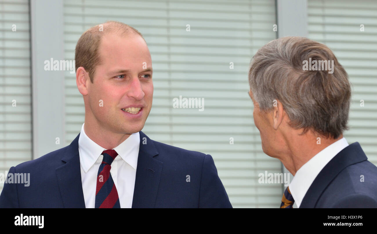 . The Duke of Cambridge met by Lord Lieutenant of Hampshire on an official visit to a Step into Health programme - Stock Image