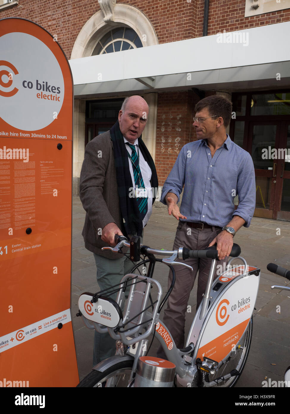 Exeter UK 13 Oct 2016 central station. Launch of co bikes first community electric bike scheme in UK Credit:  Anthony Stock Photo