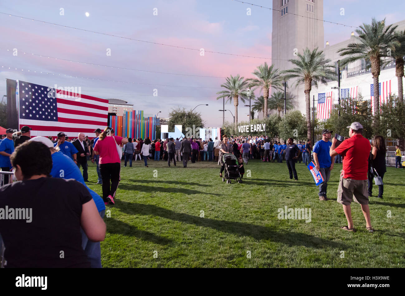 Las Vegas, Nevada, USA. 12th October, 2016. The crowd gathers for a get out the vote rally on October 16th 2016 - Stock Image