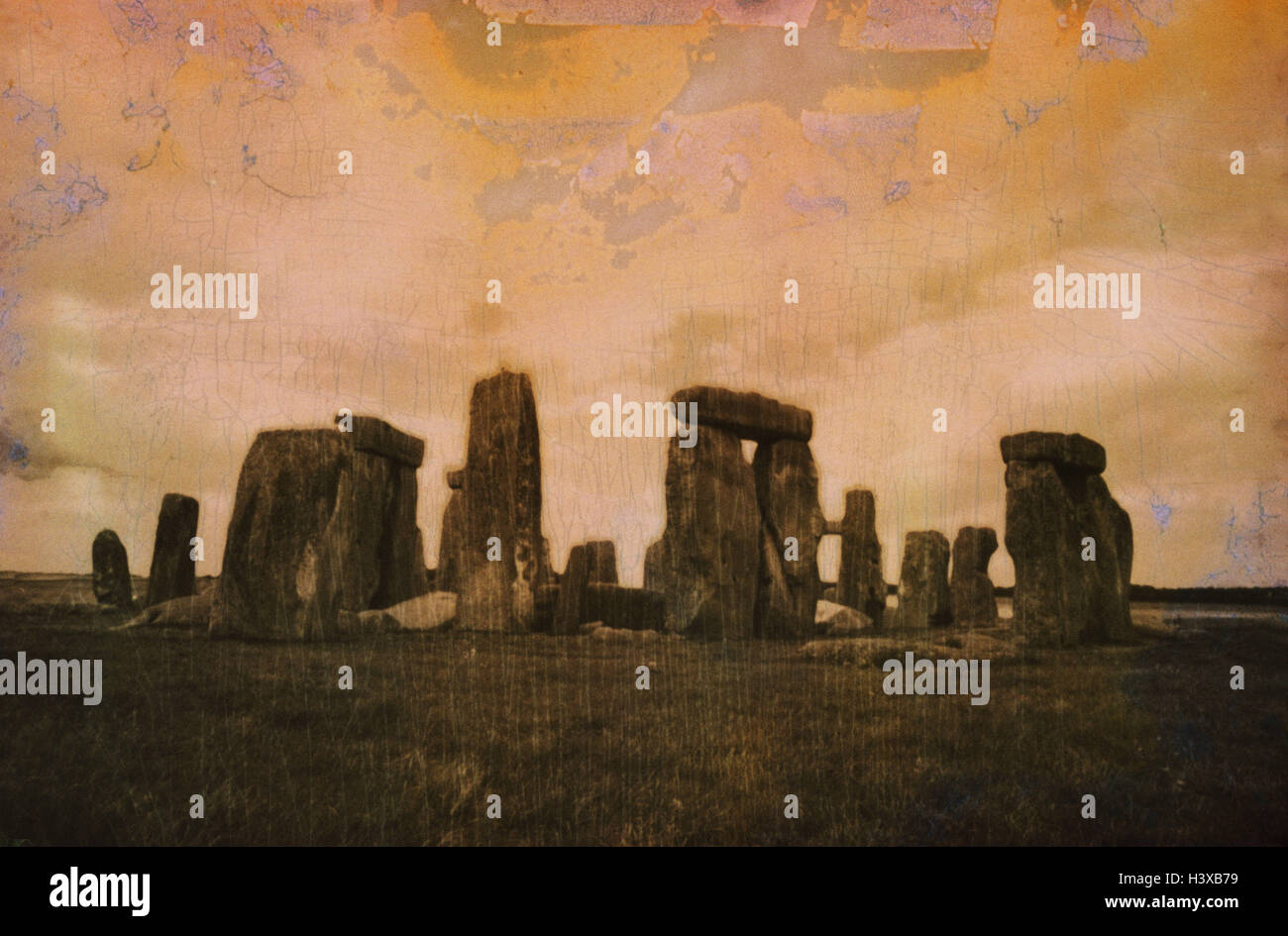 Great Britain, south narrow country, Wiltshire, Stonehenge, manipulated, close Salisbury, stone circles, stone circles, - Stock Image