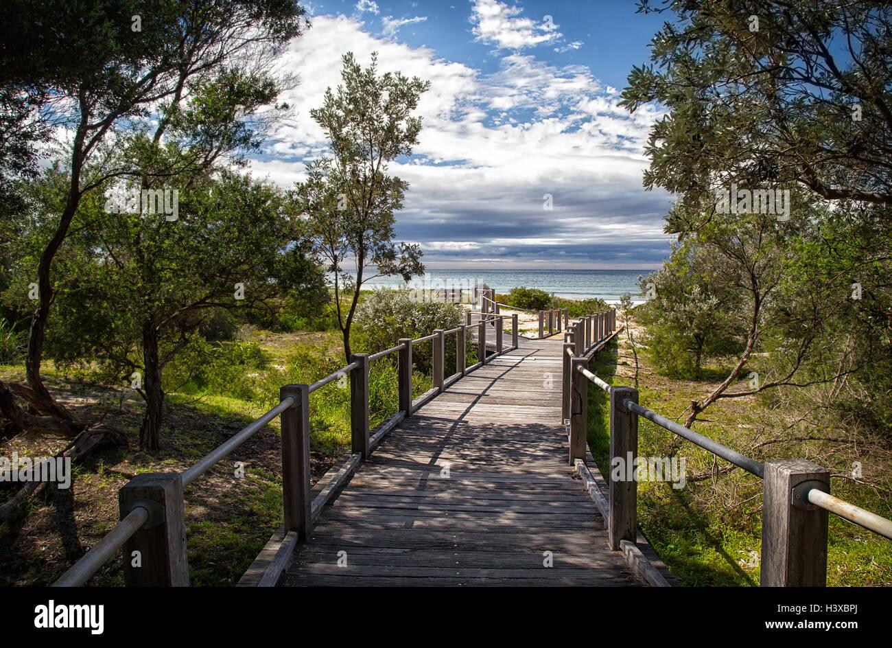 A wooden boardwalk leading to 7 Mile Beach near Gerroa in Australia - Stock Image