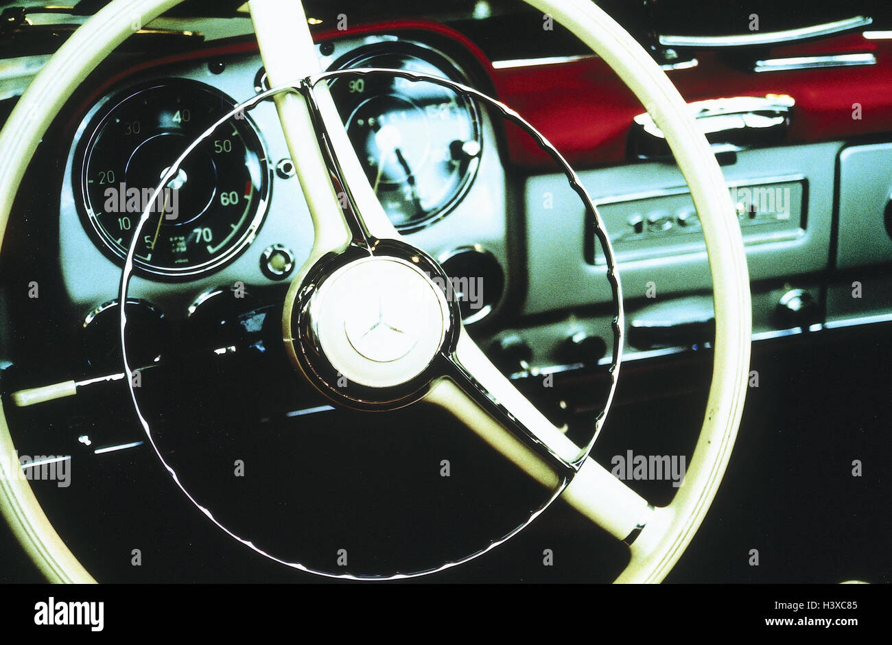 Old-timers, Mercedes, detail, tax, dash board, passenger car, vehicle, automobile, armatures, cockpit, steering, - Stock Image